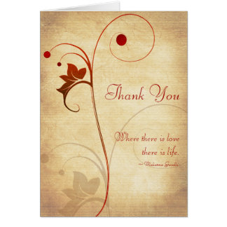 Customizable Autumn Wedding Thank You Card
