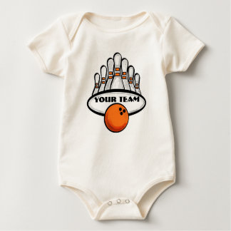 Customizable baby orange bowling team baby bodysuit