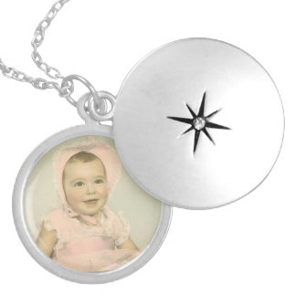 Customizable Baby Photo Silver Plated Necklace