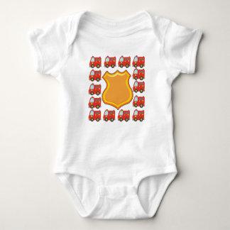 Customizable Badge and Firetruck Baby Bodysuit