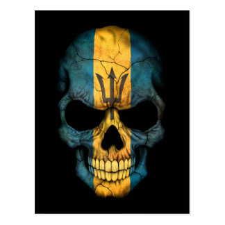 Customizable Barbados Flag Skull Postcard