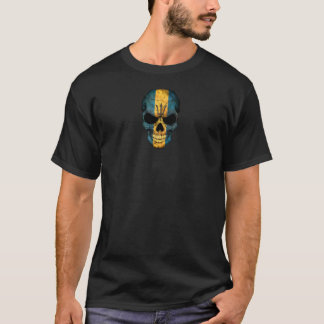 Customizable Barbados Flag Skull T-Shirt
