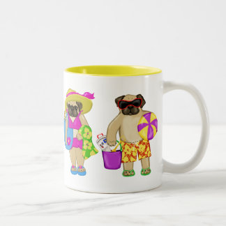 Customizable Beach Pug Mugs