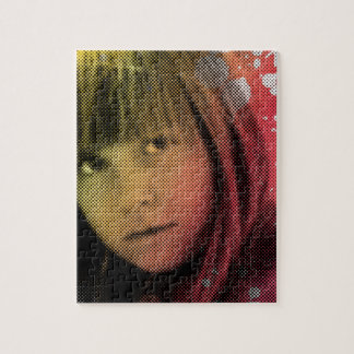 Customizable beautiful girl with color splash puzzle