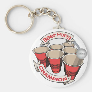 Customizable Beer Pong Champion Key Ring