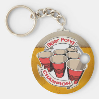 Customizable Beer Pong Champion Keychain
