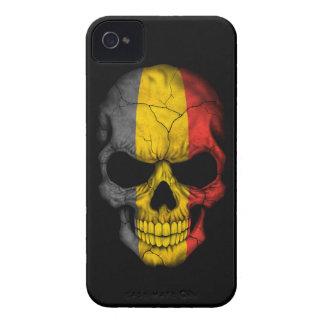 Customizable Belgian Flag Skull iPhone 4 Case-Mate Case