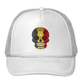 Customizable Belgian Flag Sugar Skull with Roses Hats