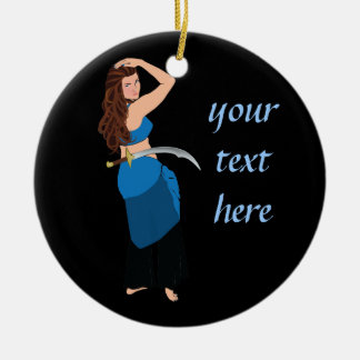 Customizable belly dancer round ceramic decoration