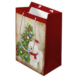 Customizable Bichon Frise Christmas Gift Bag