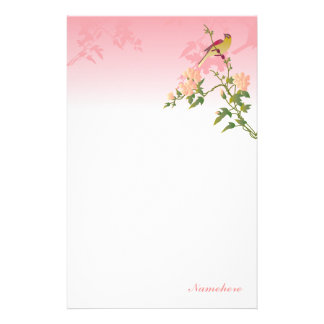 Customizable: Bird on Chinese blossom Stationery
