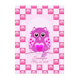 Customizable birth canvas print with Owl & text