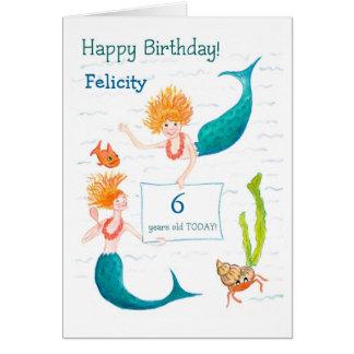 Customizable Birthday Card - Mermaids