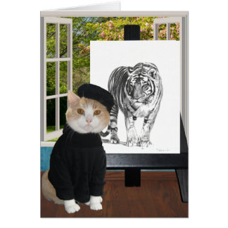 Customizable Birthday for Artist & Cat Lover Card