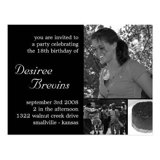 Customizable Birthday Invite Card Photo Invitation Postcards