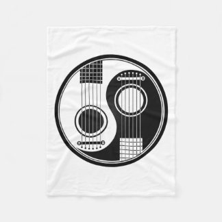 Customizable Black Acoustic Guitars Yin Yang Fleece Blanket