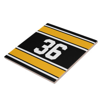 Customizable Black and Gold Sports Stripes Tile
