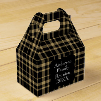 Customizable Black and Tan Plaid Family Reunion Favour Box