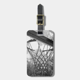 Customizable Black and White Snowy Basketball Net Bag Tags