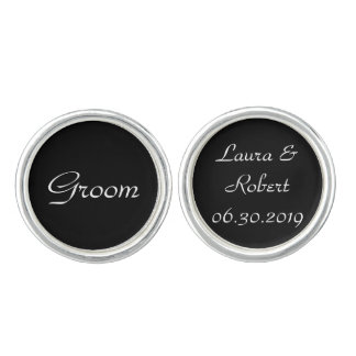 Customizable Black and White Wedding Cufflinks