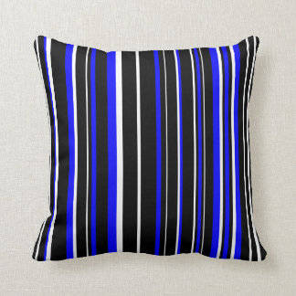 Customizable Black, Blue, & White Stripe Throw Pillow