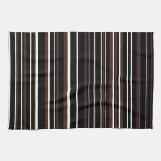 Customizable Black, Brown, & White Stripe Tea Towel