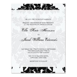 Customizable Black Damask Wedding Invitation