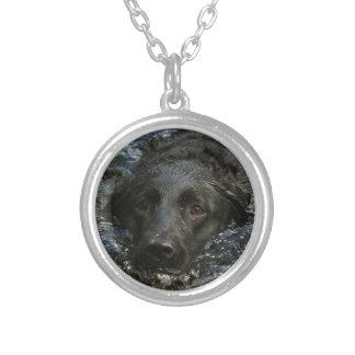 Customizable Black Labrador Retriever Silver Plated Necklace