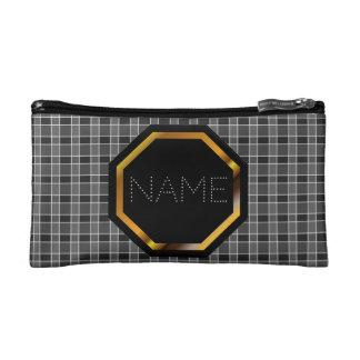 Customizable Black Plaid Cosmetics Bag Makeup Bags