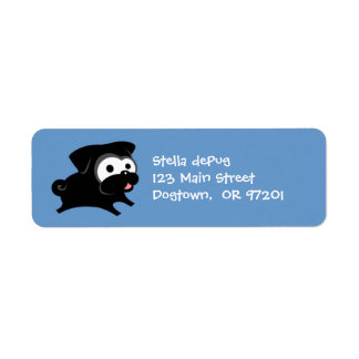 Customizable Black Pug 2 Return Address Labels