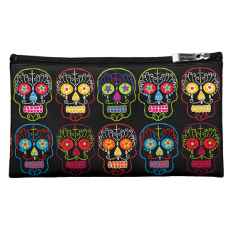 Customizable Black Sugar Skulls Cosmetic Bag