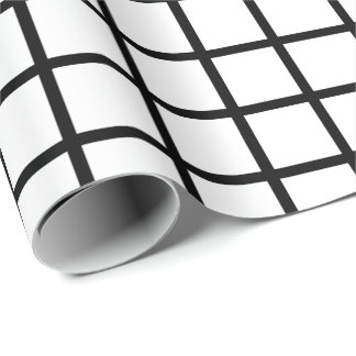 Customizable Black & White Grid Pattern Gift Wrap