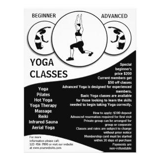 Customizable black white yoga class flyers