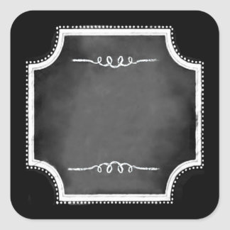 Customizable Blank Faux Chalkboard Square Stickers