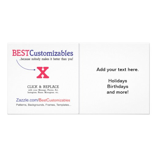 Customizable Blank Gift Template Personalized Photo Card