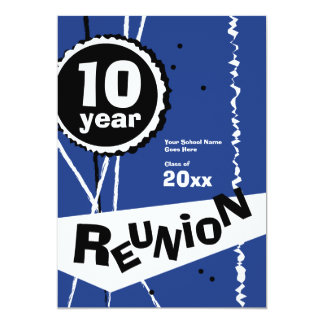 Customizable Blue 10 Year Class Reunion Invitation