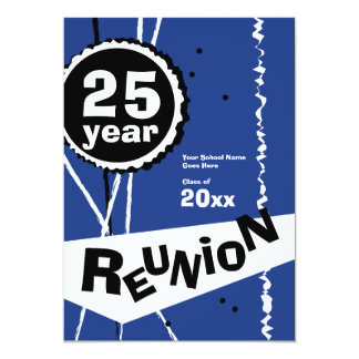 Customizable Blue 25 Year Class Reunion Invitation