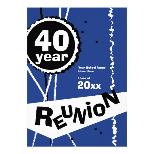 Customizable Blue 40 Year Class Reunion Invitation