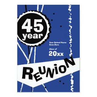 Customizable Blue 45 Year Class Reunion Invitation