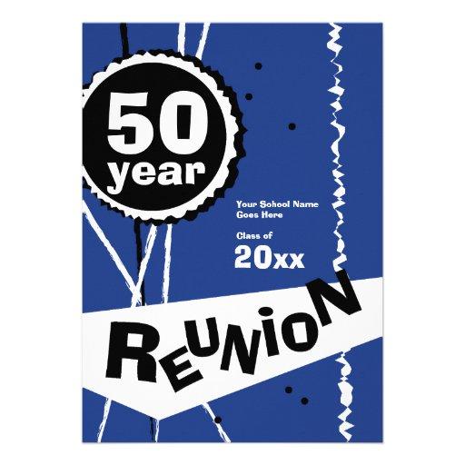 Customizable Blue 50 Year Class Reunion Invitation