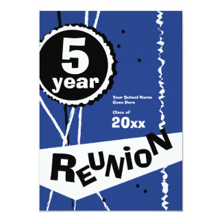 Customizable Blue 5 Year Class Reunion Invitation