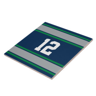 Customizable Blue and Green Sports Stripes Large Square Tile