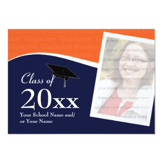 Customizable Blue and Orange Graduation Invitation