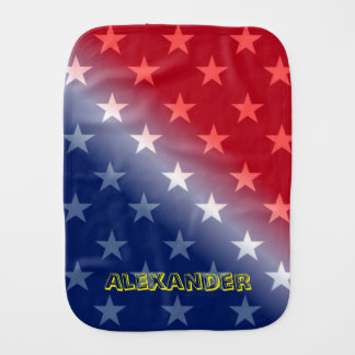 Customizable Blue and Red with White stars Baby Burp Cloth