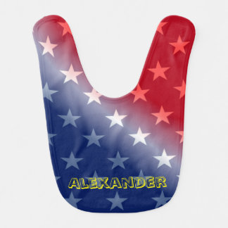 Customizable Blue and Red with White stars Bib