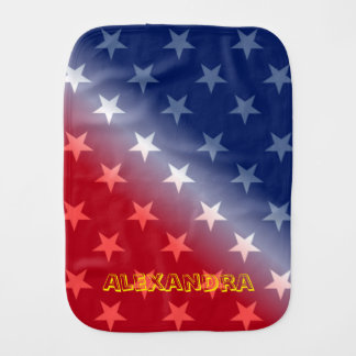 Customizable Blue and Red with White stars Burp Cloths