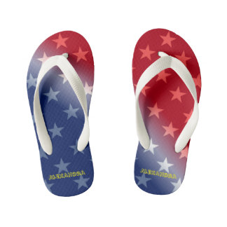 Customizable Blue and Red with White stars Flip Flops