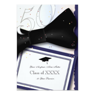 Customizable Blue and White 50 Year Class Reunion 13 Cm X 18 Cm Invitation Card