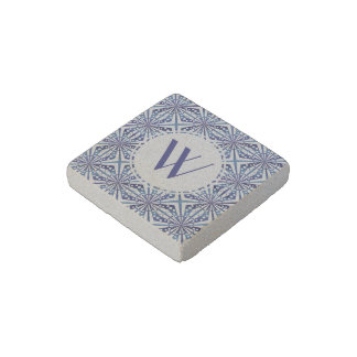 Customizable Blue and White Geometric Pattern Stone Magnet