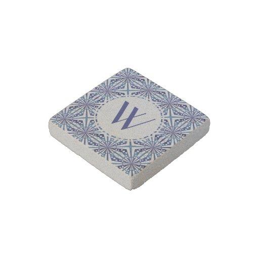 Customizable Blue and White Geometric Pattern Stone Magnet